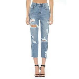 Cello High Rise Womens Light Blue Distressed Jeans